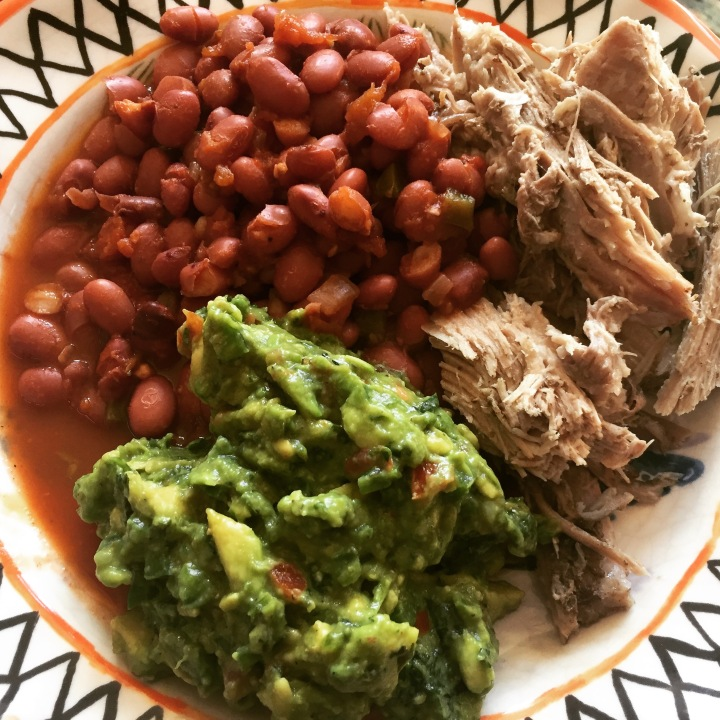 slow cooker carnitas with mexican red beans